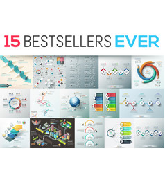 Big bundle of 15 modern infographic design vector