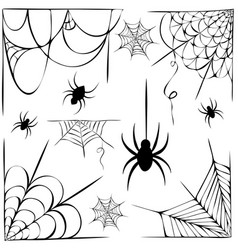 Big set cobwebs and hanging spiders silhouette vector