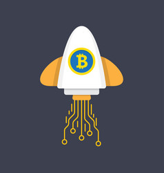 bitcoin rocket ship launching vector image