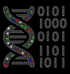 bright mesh 2d dna binary code with flash spots vector image