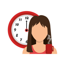 businesswoman with watch avatar icon vector image