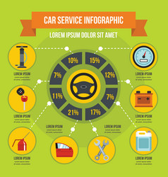 Car service infographic concept flat style vector