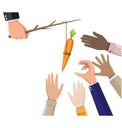 carrot on a stick in hand vector image