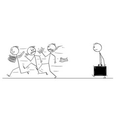 Cartoon group men or businessmen running vector
