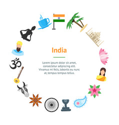 Cartoon india banner card circle vector