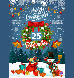 christmas fair invitation with gifts and snowman vector image