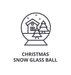 christmas snow glass ball line icon outline sign vector image