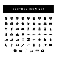 clothes icon set with black color glyph style vector image
