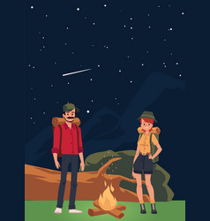 Couple tourists at campfire in mountains flat vector