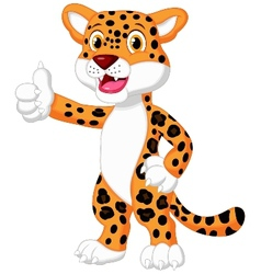 Cute leopard cartoon giving thumb up vector