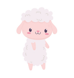 cute sheep animal cartoon isolated icon vector image
