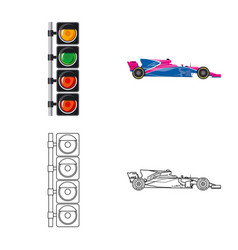 Design of car and rally symbol set of car vector