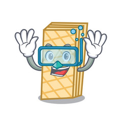 Diving waffle character cartoon style vector