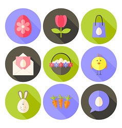 Easter flat styled circle icon set 2 with long vector image vector image