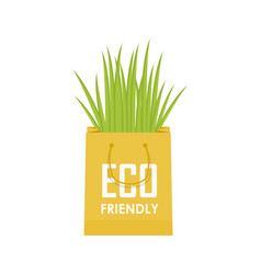 Eco recycle bag green set vector