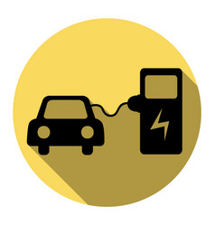 electric car battery charging sign flat vector image