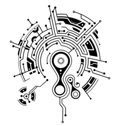 Elegant tattoo with circuit board elements vector