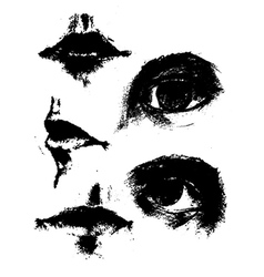 Eye and mouth sketch vector