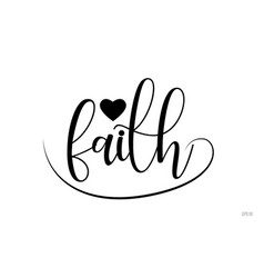 Faith typography text with love heart vector