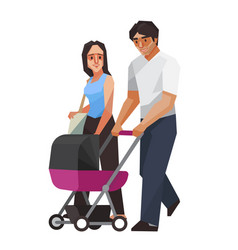 Familycouple with baby cart vector