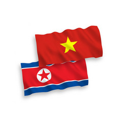 Flags north korea and vietnam on a white vector