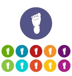 Foot left leg set icons vector image