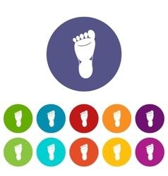 Foot left leg set icons vector