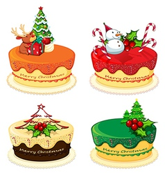 Four cake designs for christmas vector