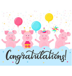 Funny pigs at a party congratulations hand vector