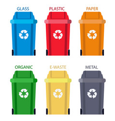 Garbage can separation of waste disposal refuse vector
