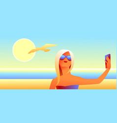 girl in sunglasses makes selfie vector image