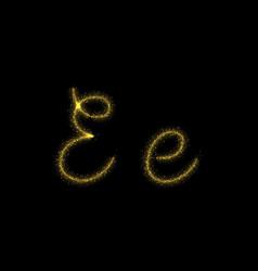 Gold glitter letter e star sparkle trail font vector