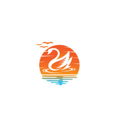 goose or duck swimming for logo design in a sun vector image