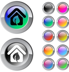 Green home multicolor round button vector image