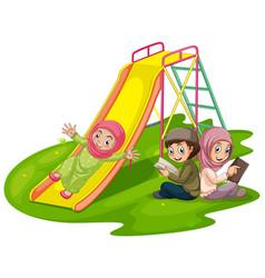 Group muslim kids at playground vector