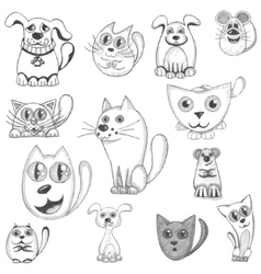 Hand drawn cats dogs and mouse set vector