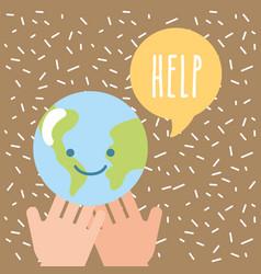 hands holding kawaii world help donate charity vector image