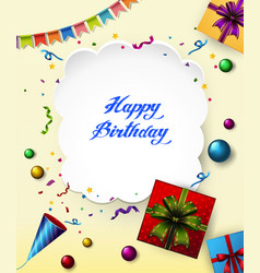 Happy birthday card with presents and ribbons vector