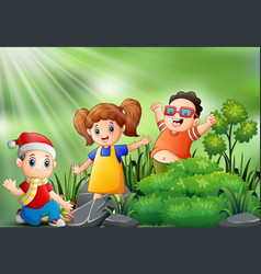 happy kids playing in the park vector image