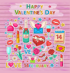 happy valentines day setsticker vector image