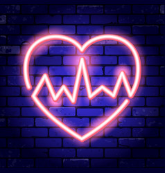 heart with cardiogram neon signboard vector image