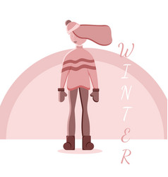 isolated cartoon girl in vector image
