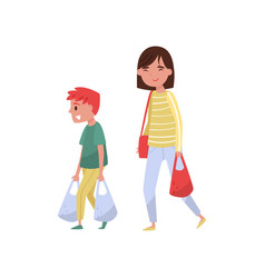 Kid helping his mother carry shopping bags polite vector