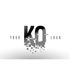 Ko k o pixel letter logo with digital shattered vector
