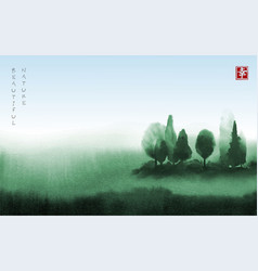 Landscape with green trees in fog hand drawn with vector