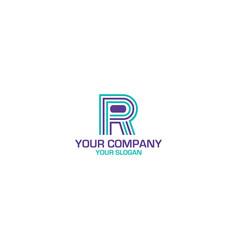 line rp logo design vector image