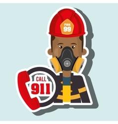 Man firefighter mask helmet vector