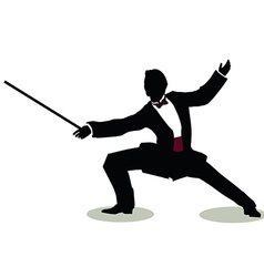 man silhouette in Still Pose Fencer vector image
