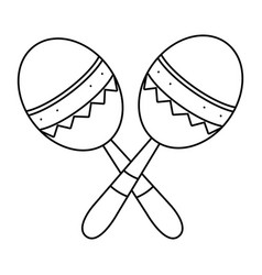 Maracas musical instruments in black and white vector