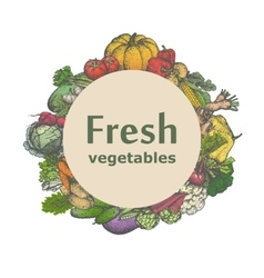 Mark sticker sign icon of fresh vegetables vector